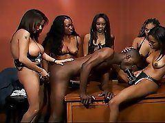 Girls playing strip basketball