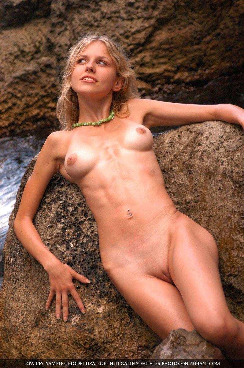 Skinny naked girl abs dildo