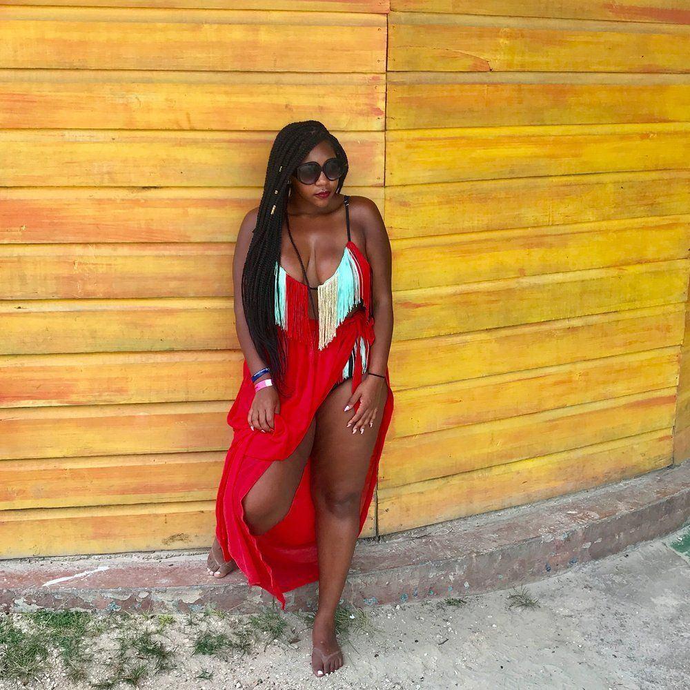 Big tits ebony beach